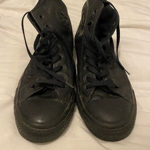 All black leather high top converse